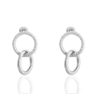 RVS oorbellen/oorstekers ringen Zilver