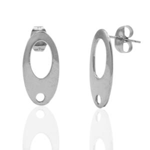 RVS oorstekers ovaal met oogje zilver