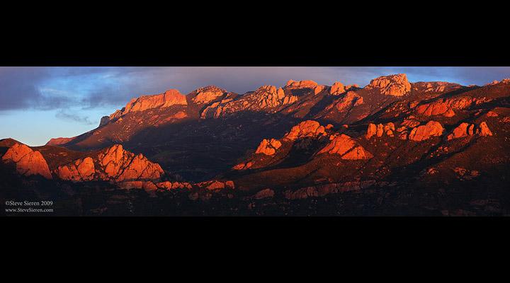 Alpen glow on the Santa Monica Mountains coastal range.