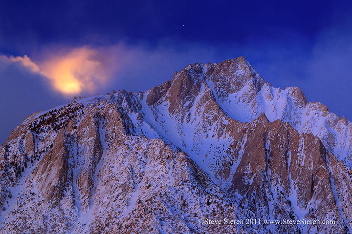 Setting moon on Lone Pine Peak in the Eastern Sierra