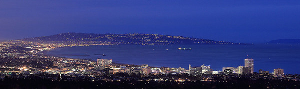 A view of the Santa Monica Bay and Palos Verdes off in the distance from the Santa Monica Mountains