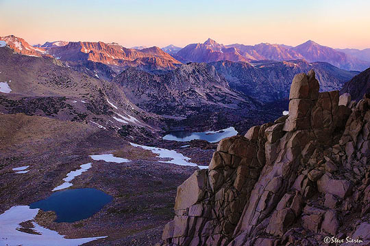 The view from above Bishop Pass looking towards Mt. Humphries.