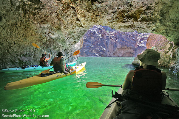 Friends paddle through a Colorado River cave in the Mojave Desert.  I really miss this moment.