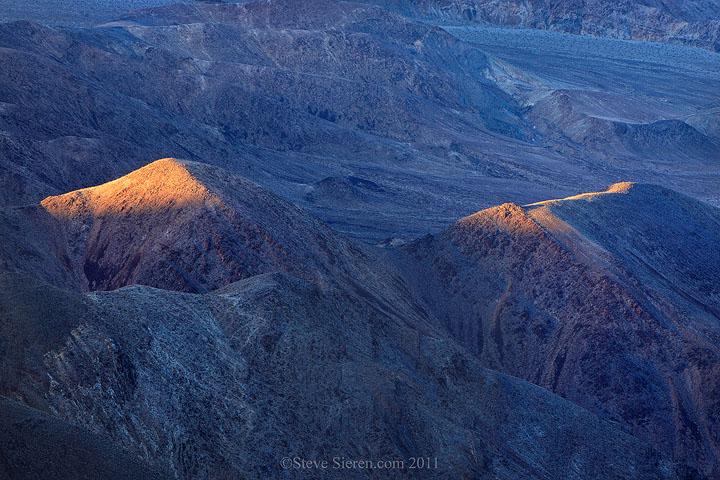 Light pyramids in the foothills of the Panamint Mountains in Death Valley.