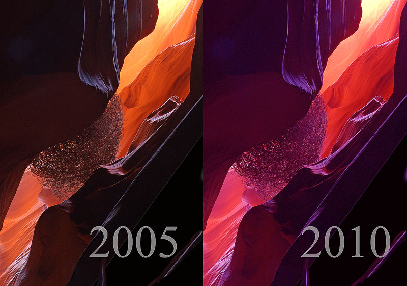 Did a canyon really change color in the last decade??  Faux cast added in second shot.