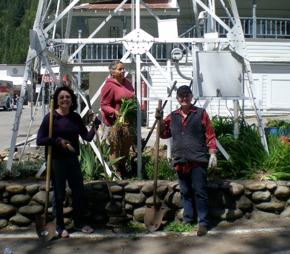 Cherry Simi, Feather Ortiz and Jean Clark working at the Bell Tower