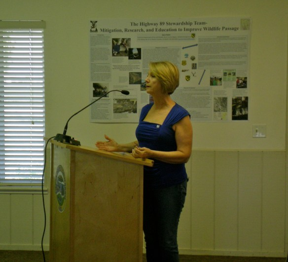 Sandra Jacobson, USDA Pacific Southwest Station at Davis presents information on the Hwy 89 Stewardship Team project.