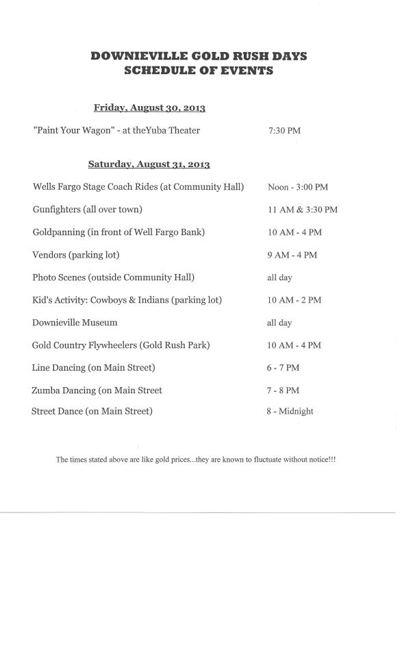 GOLD RUSH DAYS SCHEDULE