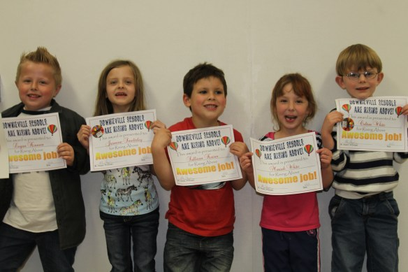 Ms. Schofields kindergarten class were all honored at this months Rising Above assembly on March 4, 2013 in Downieville.  Logan Kinneer, Jasmine Smeltzley, Sully Kaiser, Mariah White and Colton White.