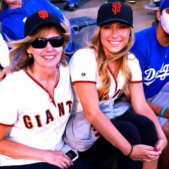 Cindy McCreary and daughter Randi McCreary cheering for the Dodgers I think, while not at Sierra Hardware.
