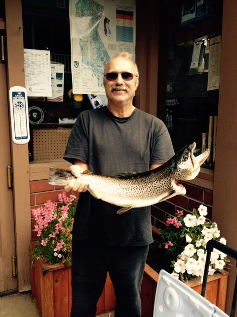 "Mark Helm of Goodyears Bar made Kevel Gutman very jealous with his 27 "" Trout on Opening Day of fishing in Sierra County"