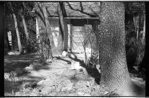 Cabin 28 in Keddie sits vacant in this photo taken shortly after the bodies of three people were found stabbed with a knife and beaten with a hammer on April 11, 1981. The cabin was demolished in 2004. Photo courtesy Plumas County Sheriff