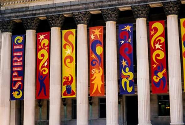 spirit banners between columns
