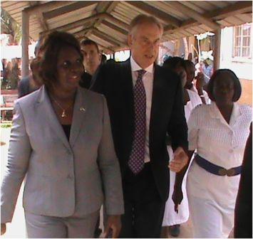 From L-R Deputy Minister II, Madina Rahman, Tony Blair and Hospital Matron, Isatu Kamara on a conducted tour of various facilities