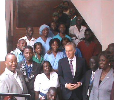 Group Photo from L-R Director of Hospitals Dr. Matt-Lebby, Matron Isatu Kamara, Tony Blair and Madam Rahman (extreme right)