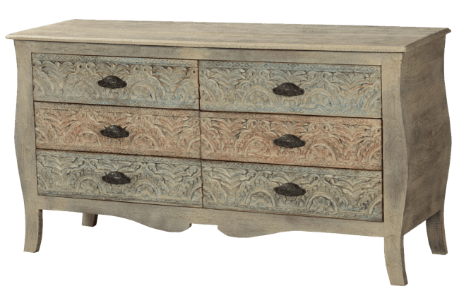 French Provincial Mango Wood Bombe Chest of Drawers