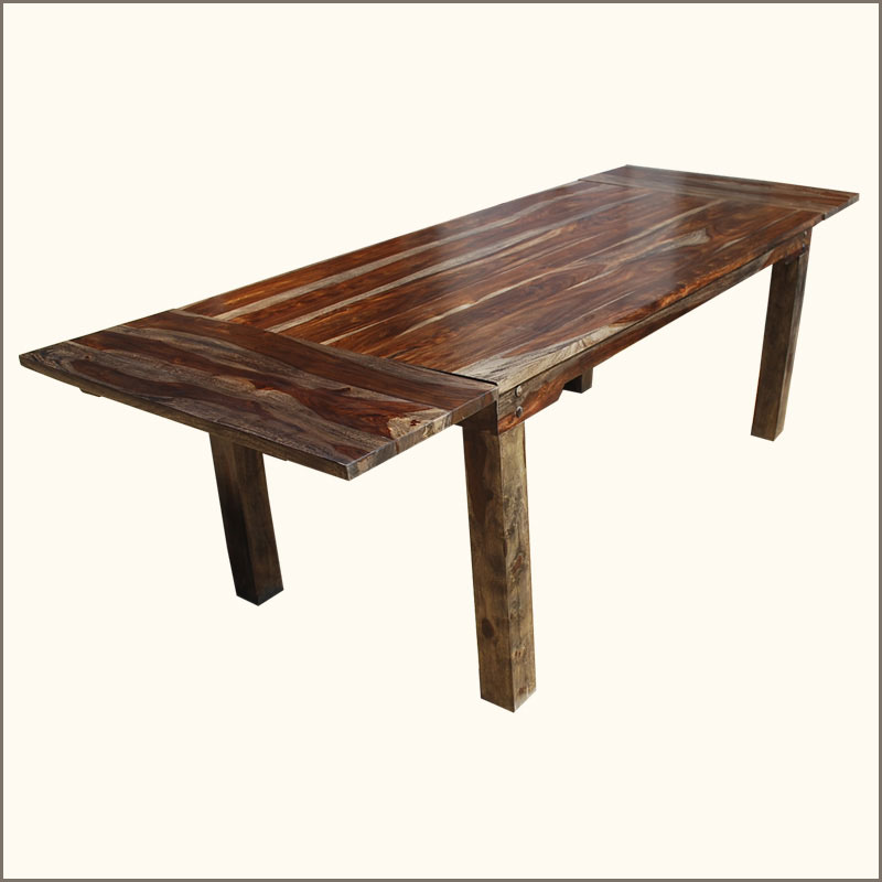 Rustic Large Dining Table With Leaves Seats 8 People Solid