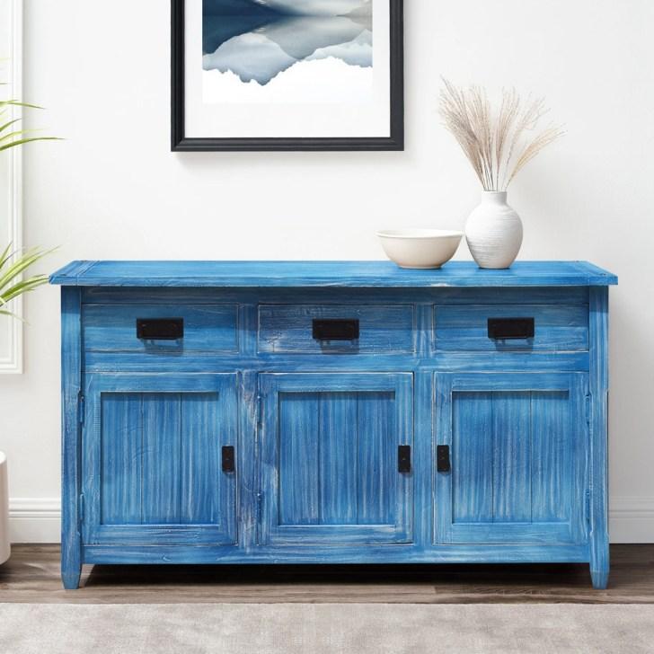 Appalachian Sky Blue Buffet Kitchen Cabinet Wood Sideboard Credenza