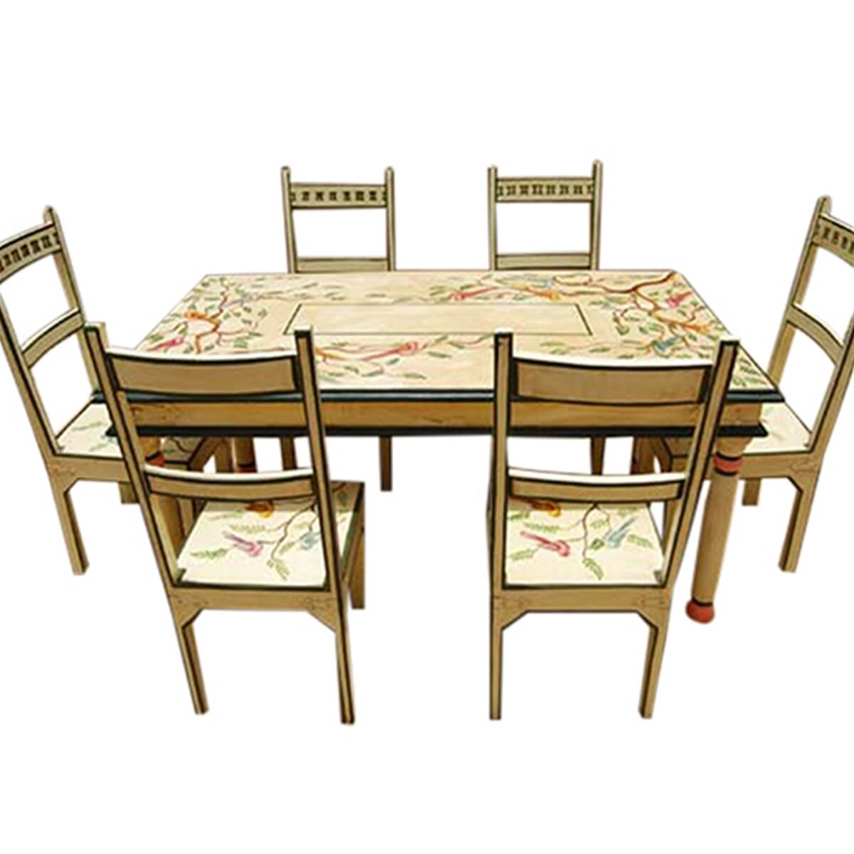 birds of paradise hand painted 7pc country dining table on hand painted dining room tables id=91379