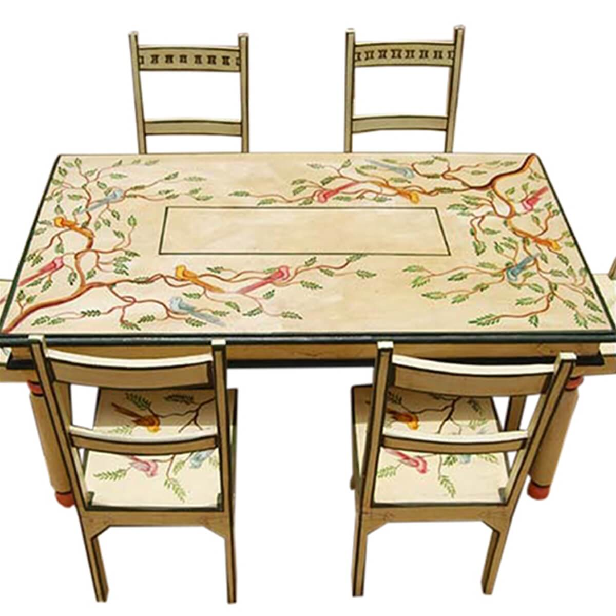 birds of paradise hand painted 7pc country dining table on hand painted dining room tables id=37114