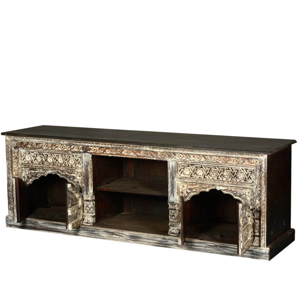 Reclaimed Wood Midnight Snow Castle TV Stand Media Console