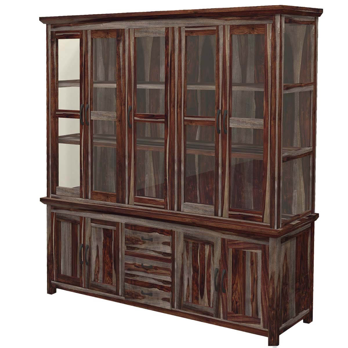 Dallas Ranch Rustic Solid Wood Glass Door Dining China Hutch