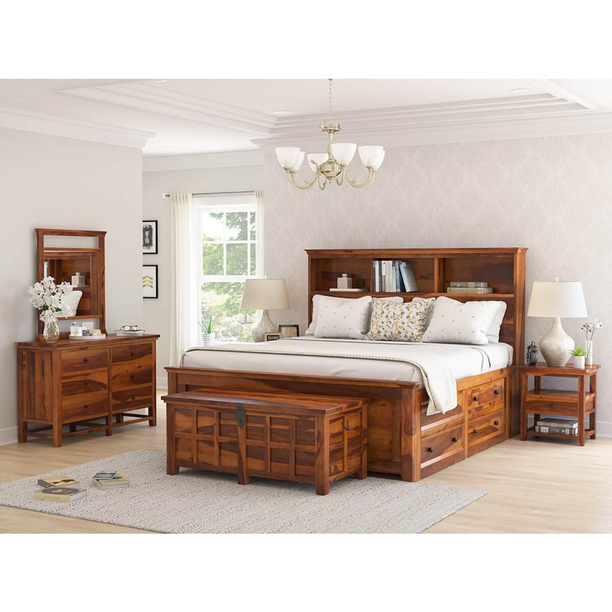 Mission Modern Solid Wood King Size Platform Bed 7pc