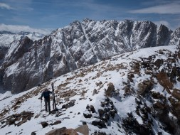 May 8, 2014 - Nearing the summit of Mt. Locke, Mt. Emerson behind. Emerson North Couloir not fully filled in at the top.