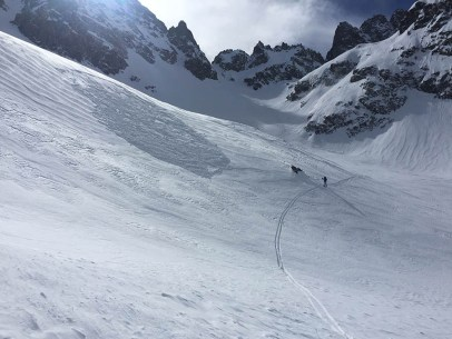 Remotely triggered windslab avalanche below Scimitar Pass. 2/15