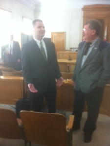 (l-r) Attorney Joseph Liburt representing opposing trustees and attorney Peter Tracy of Bishop, local counsel for Deep Springs, in Inyo Superior Court.