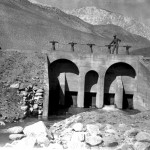 Alabama Gates: The workers in the Alabama Gates Construction Camp occupied the camp in 1912-13, and built the gates, above, and the concrete-lined section of the LA Aqueduct. Photo courtesy Eastern California Museum