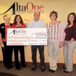 Those shown in photo (left to right): Claudia Grayson; AltaOne Supervisor Dina Polis; ICARE President Ted Schade; Dawn Conway; and Seanna Inderbieten  [photo by Lisa Schade of ICARE]