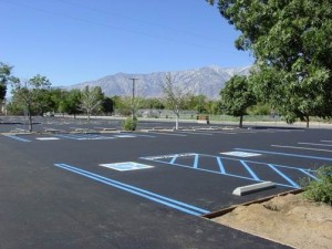 At the north end of Lone Pine, bordering Highway 395 and a residential community, Lone Pine High School's Sports Complex is now paved. Several dead trees await replacements along with the installation of new bicycle racks.