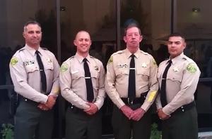 "(from left to right): Lieutenant Eric Pritchard, Seneca Willis, Sheriff ""Bill"" Lutze, Angilberto Castaneda"