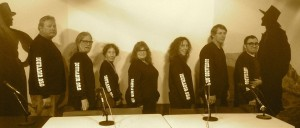 The cast of the War of the Worlds radio play, left to right, Jim Shallcross, Max Rosan, Mary Winchester, Jeanie Smith, Judyth Greenburgh, Jon Klusmire, Manual Ruiz.