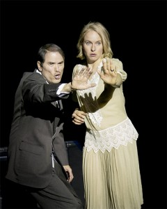 Billy Flynn (Ron Valenzuela) and Roxie Hart (Danielle Kuhl) practicing for her trial