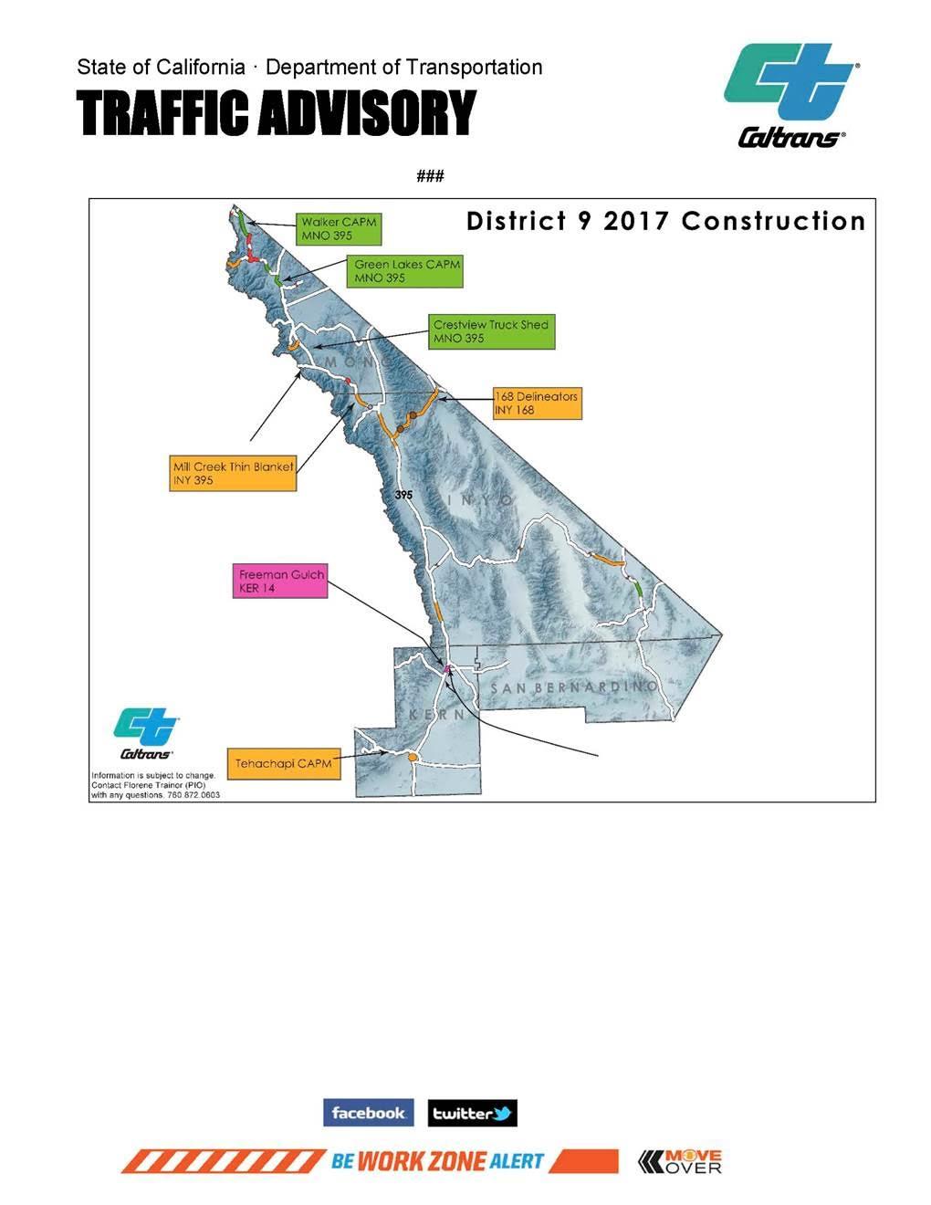 Caltrans Road Work For Week Of Aug Sierra Wave Eastern - Caltrans traffic map