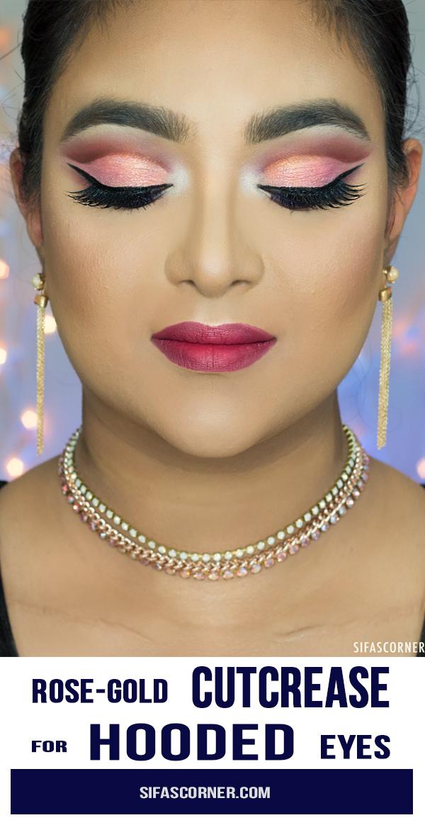 Rose Gold Cutcrease Makeup for Hooded Eyes - Sifa's Corner