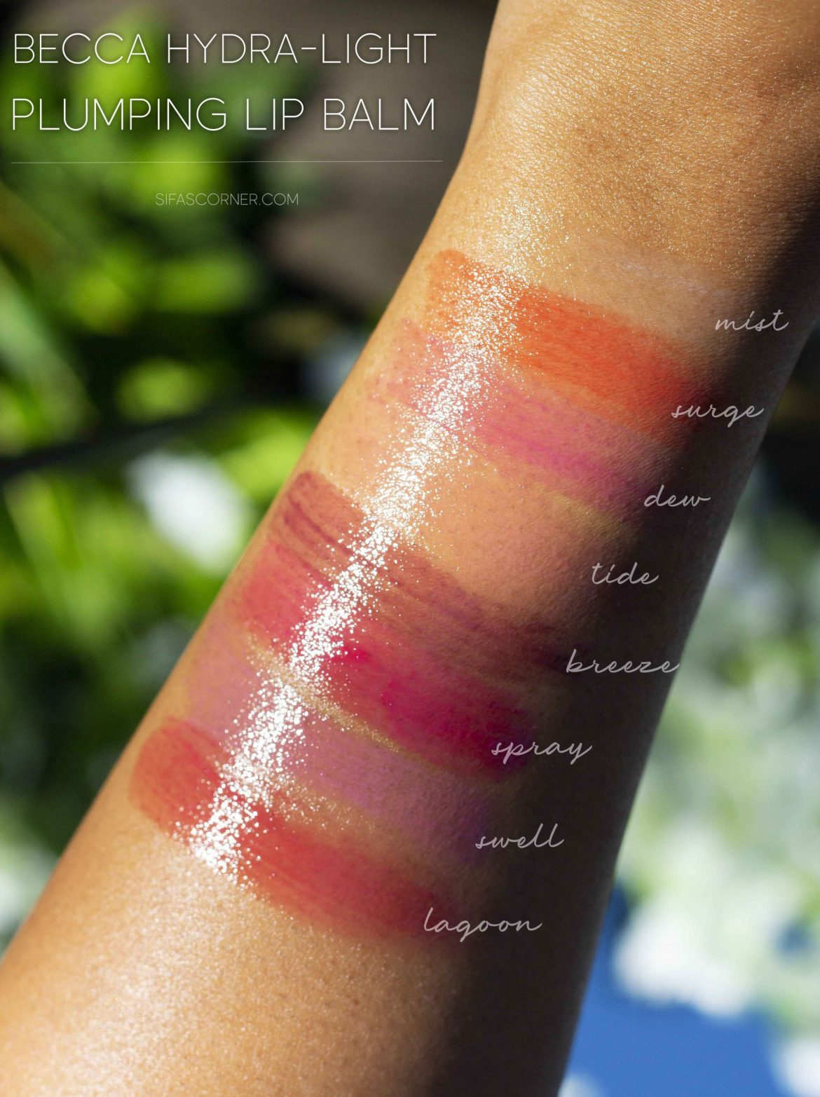 swatches of Becca Hydra-Light Plumping Lip Balms