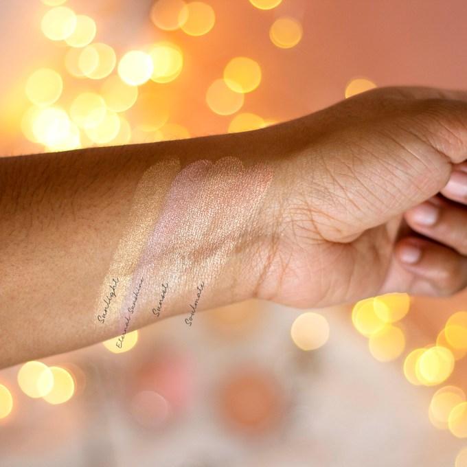 Palladio Sunkissed Highlighters swatch on brown skin