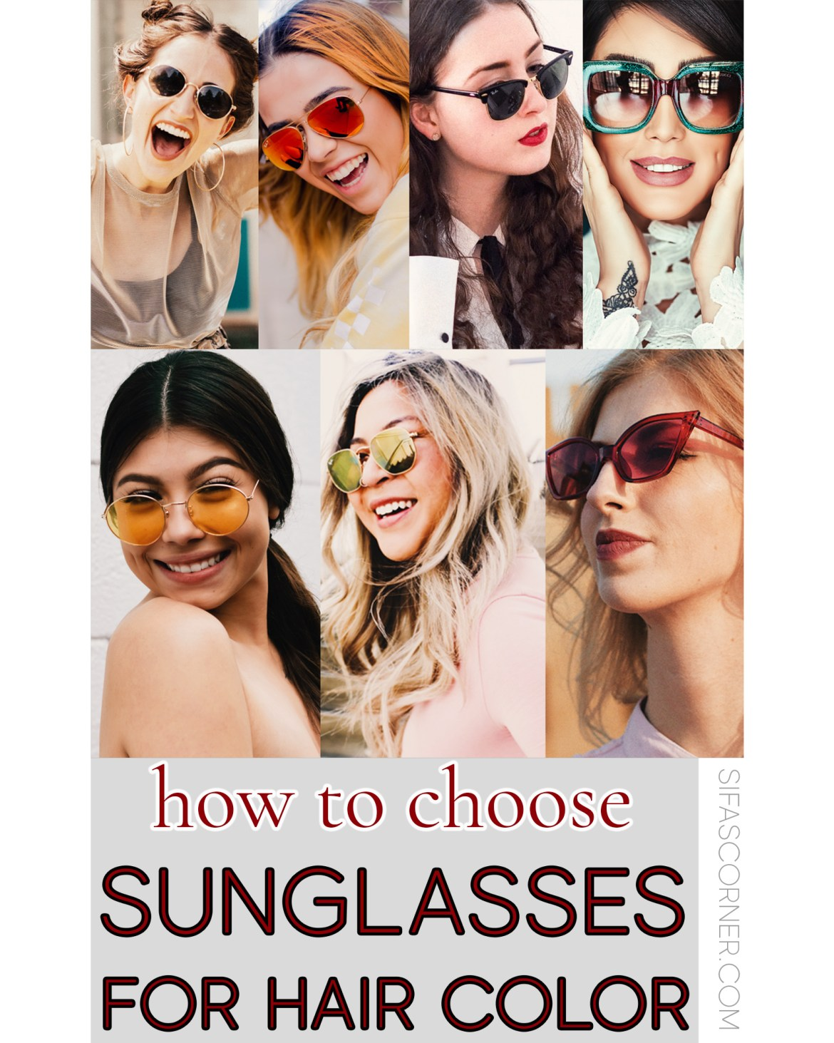 women with different sunglasses for different hair color