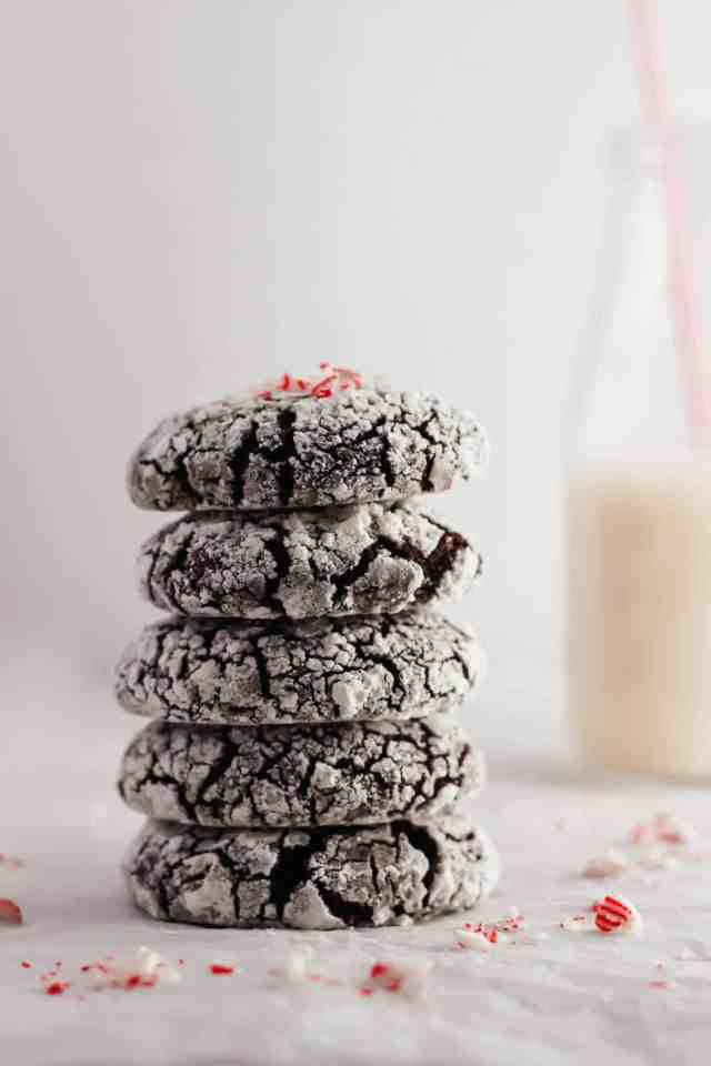 Chocolate Peppermint Crinkle Cookies