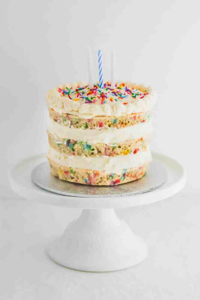 Incredible Funfetti Cake With Whipped Cream Cheese Frosting A Happy 3Rd Personalised Birthday Cards Paralily Jamesorg