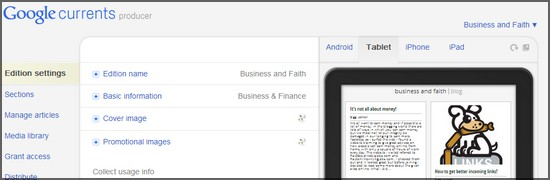 How to add my site to Google currents