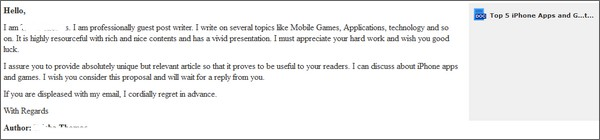 Email request from a spam guest post blogger