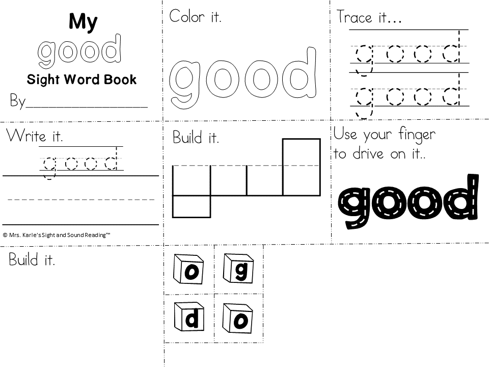 Sight Word Worksheets For Preshool Kindergarten Or 1st Grade