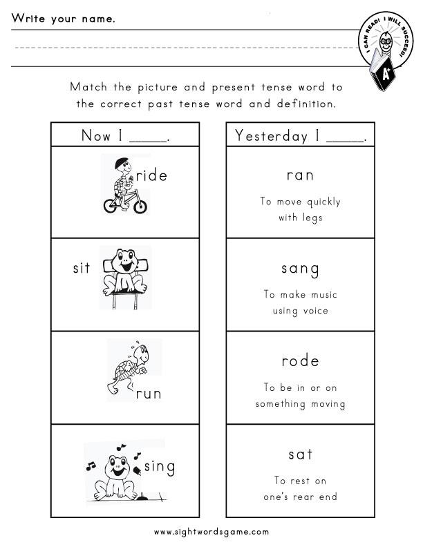 past tense verb list pdf