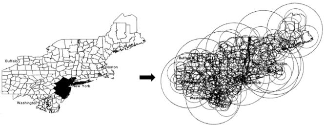 Schéma de la méthode de statistique de scan spatiale.