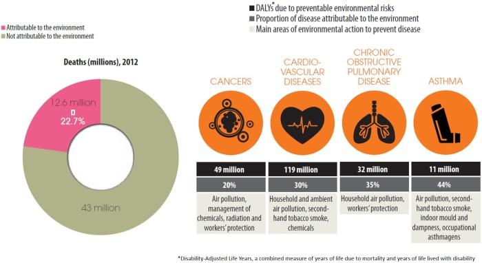 Un quart des décès prématurés attribuables à une cause environnementale dans le monde en 2012, soit 12,6 million. Deux tiers de ces décès sont liés à des maladies chroniques, comme les cancers, les maladies cardio-vasculaires et respiratoires. Les principales causes environnementales sont la contamination des milieux et le changement climatique