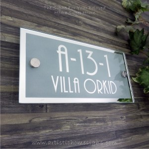 Rectangle Mirror Chrome Border & Text With Sandblast Frosted Finishing House Number Address Sign 02